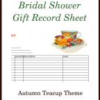 Free PRintable Bridal Shower Gift Record Sheet: Autumn Teacup Theme