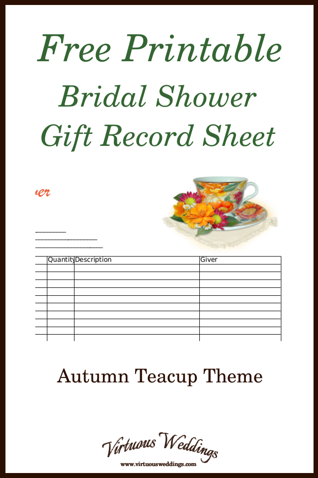 free printable bridal shower gift record sheet autumn teacup theme