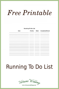 Free Printable Running to Do List