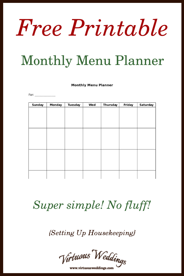 Free Printable Monthly Menu Planner
