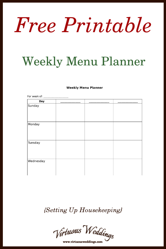 graphic about Printable Weekly Menu titled Undeniable Weekly Menu Planner Free of charge Printable ~