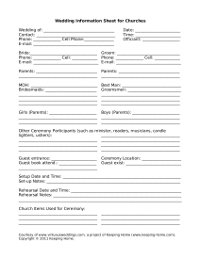Wedding Information Sheet for Churches www.virtuousweddings.com