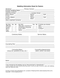 Wedding Information Sheet for Pastors www.virtuousweddings.com