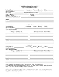 Wedding Notes for Pastors ~ free printable from www.virtuousweddings.com