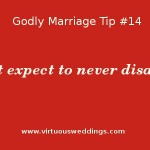 Godly Marriage Tip 14: Don't expect to never disagree. ~ www.virtuoushweddings.com