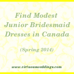 Modest Junior Bridesmaid Dress Guide, Canada, Spring, 2014