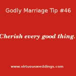 Godly Marriage Tip #46 || www.virtuousweddings.com ~ Cherish every good thing.