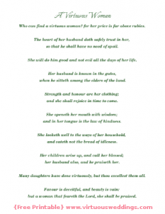 Proverbs 31 {free printable} green, by Virtuous Weddings.