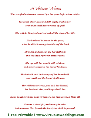 Proverbs 31 {free printable} red, by Virtuous Weddings.