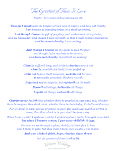 1 Corinthians 13 {free printable} blue, by Virtuous Weddings.