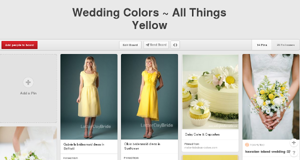 A pinboard for the color yellow