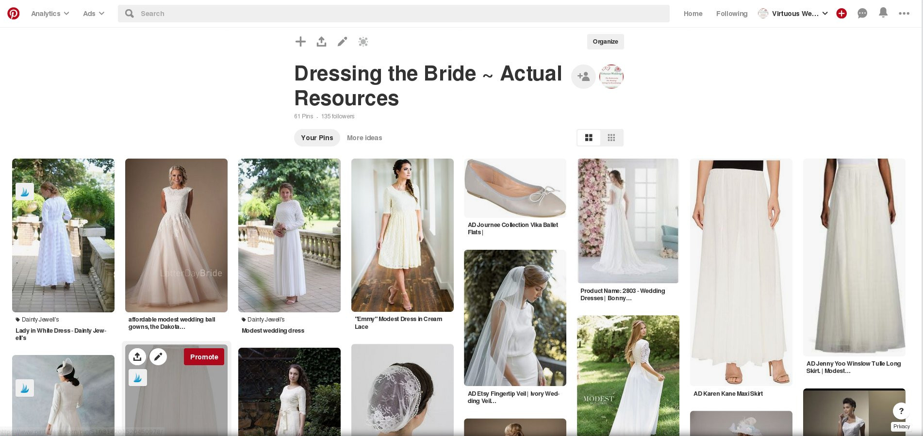 "Screenshot of Virtuous Weddings' ""Dressing the Bride ~ Actual Resources"" Pinterest board."