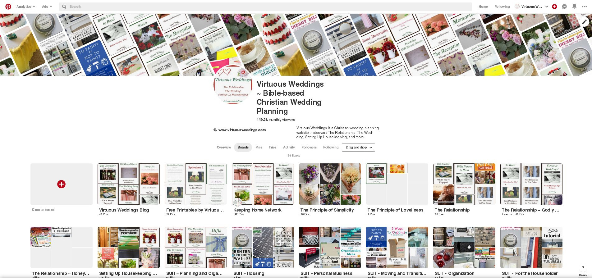 Screenshot of Virtuous Weddings' Pinterest boards