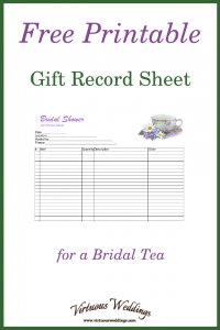 Free Printable Gift Record Sheet for a Bridal Tea