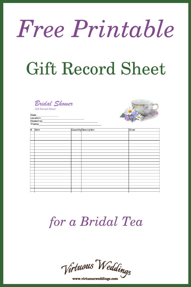 free printable gift record sheet for a bridal tea