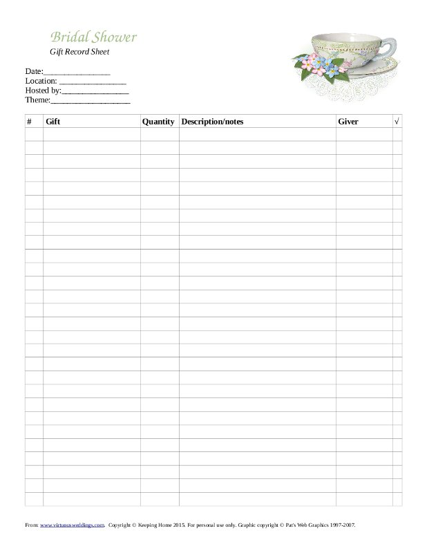 Wedding Shower Gift Record Template : Free Printable Gift Record Sheet for a Bridal Tea ~ Virtuous Weddings