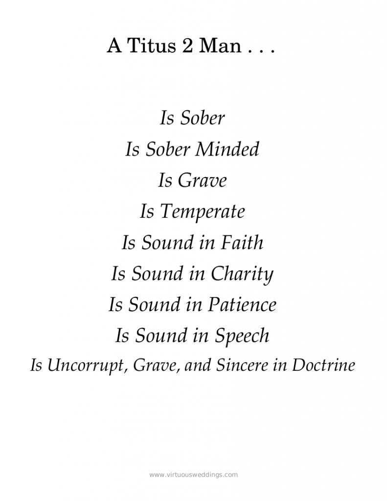 Characteristics of a Titus 2 Man