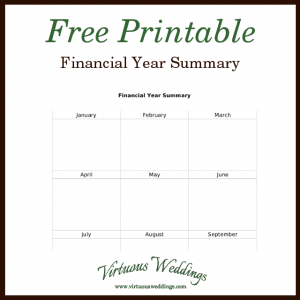 Free printable financial year summary.