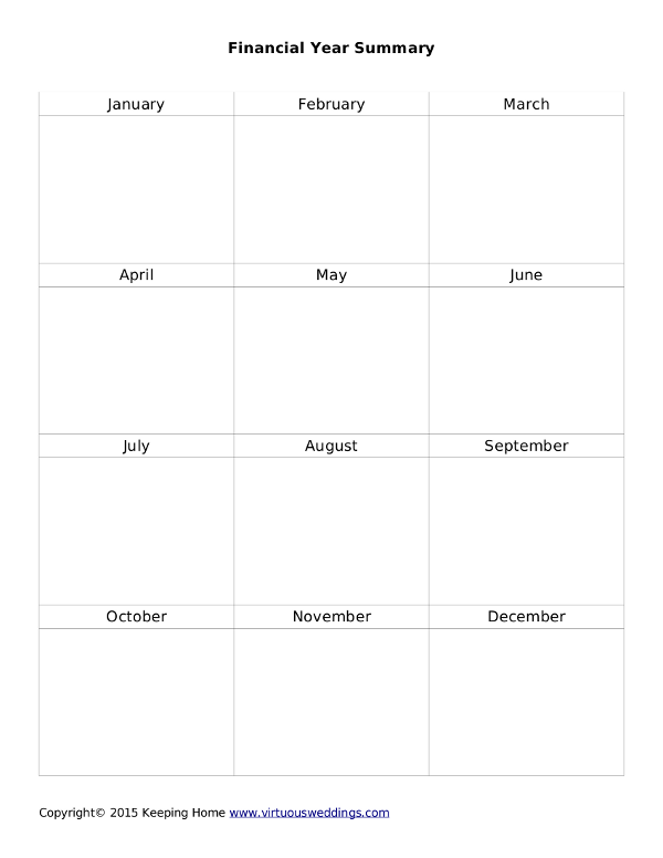 Finacial Year Summary printable