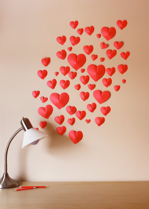 Wall of Paper Hearts from http://www.howaboutorange.blogspot.com