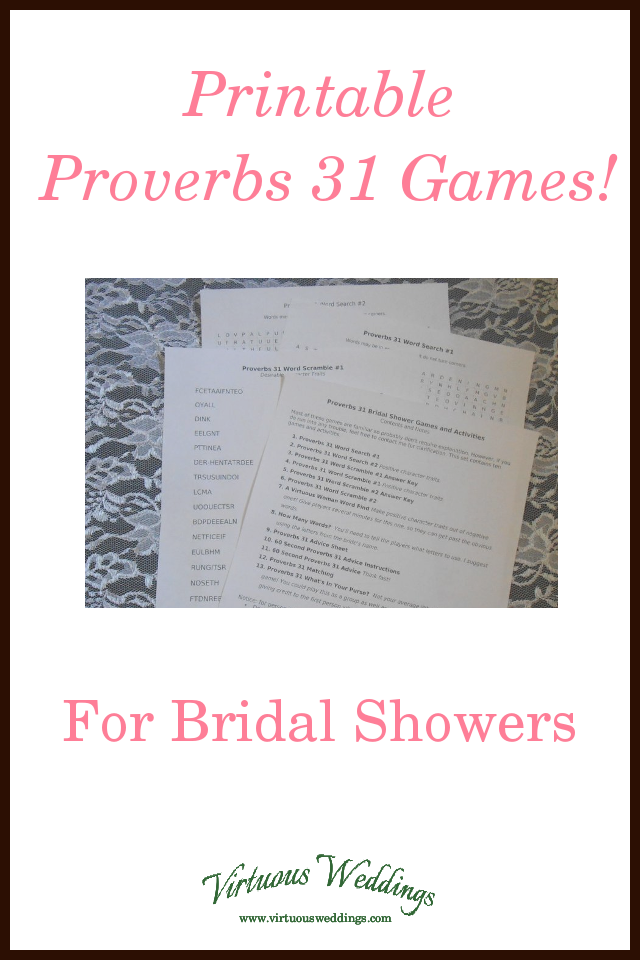 this set of ten printable bridal shower games and activities is centered around proverbs 3110 31 its a great printable game set for a bridal shower for