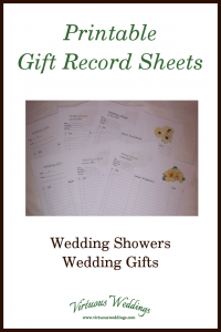 Printable Gift Record Sheets ~ Wedding Showers, Wedding Gifts