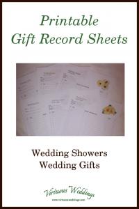 Printable Gift Record Sheets ~ Wedding Showers, Wedding Gifts