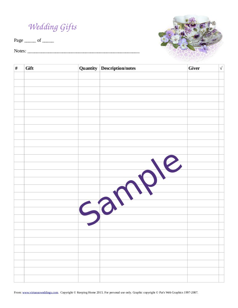 Sample wedding gifts record sheet