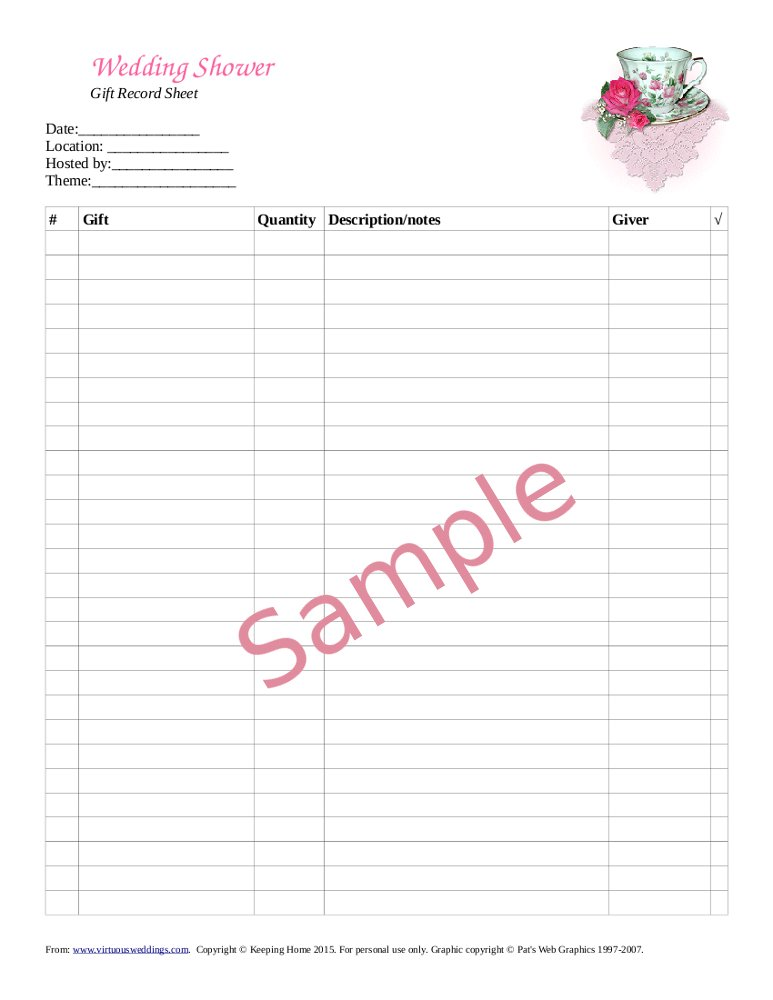 Sample wedding shower gift record sheet