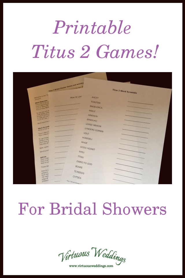 Printable Titus 2 Games for Bridal Showers