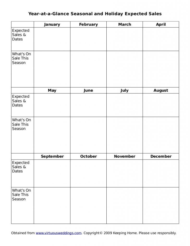 Expected sales worksheet for your homemaking binder, version 2.
