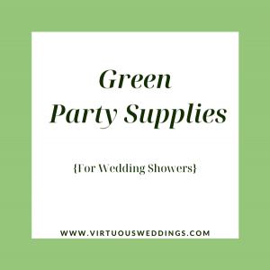 Green party supplies for wedding showers